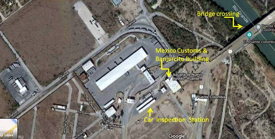 picture of the columbia bridge border crossing in Mexico